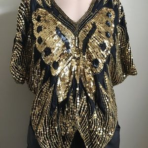 Vintage sequin Butterfly tip shirt